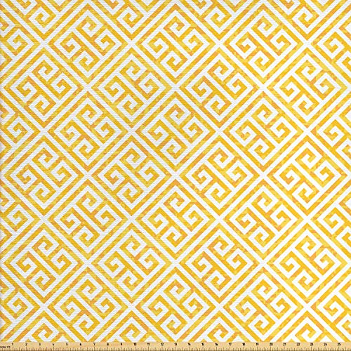 Ambesonne Greek Key Fabric by The Yard, Yellow and White Tile Pattern with Twisted Lines in Squares Grunge Looking Maze, Decorative Fabric for Upholstery and Home Accents, 1 Yard, Yellow - Fabric Yellow Squares Quilt