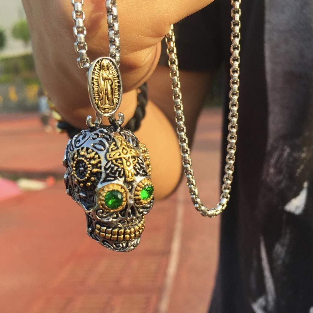 Necklace for Men Mexican Large Sugar Skull with Green Eye Pendant Necklace Stainless Steel Punk Biker Male Jewelry with 24 inch