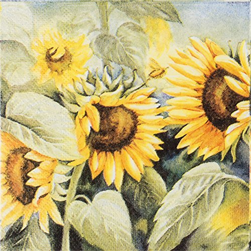 Sunflower Vintage Paper Napkins Decorative Elegant Paper Party Cocktail Napkins 20-count 2-Ply