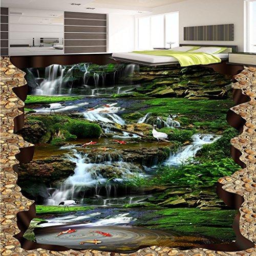 BZDHWWH Falls Creek Crane Carp Huge 3D Flooring Painting Wallpaper Bedroom Hallway Floor Mural,110Cm X 160Cm