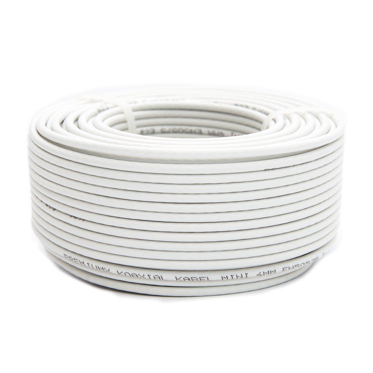 PremiumX - Cable coaxial para antena satélite (50 m, 4 mm, extrafino, apantallado de 2 capas, DVB-T, Ultra HD, 4K, 3D)