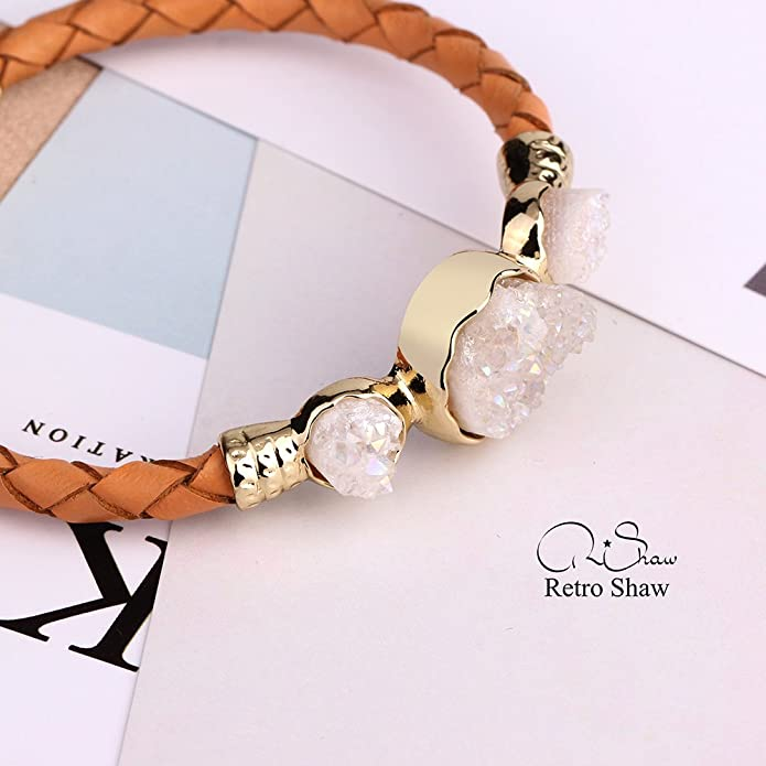 Retro Shaw Natural Crystal Bracelet White Gold Plated Bangle Bracelet for Women Adjustable Bracelet Gifts Nickel Free IrwlfM