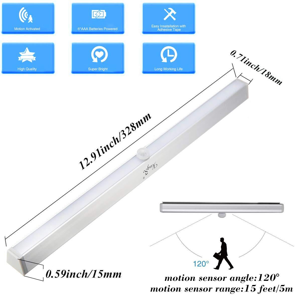 Lampara 2 pack LED del Armario, KINGSO 20 LEDs Barra de Luz Inalš¢mbrica con Sensor de Movimiento, Operada por 8 AAA Bateršªas: Amazon.es: Iluminación