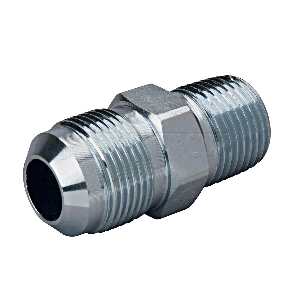 Flextron FTGF-12M12 Gas Connector Adpater Fitting with 1/2 Inch Outer Diameter Flare Thread x 1/2 Inch MIP (TAPPED 3/8 Inch), Uncoated Stainless Steel, for Dryer & Water Gas Connectors