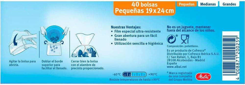 Albal Bolsa de Congelación de Alimentos, Tamaño Pequeño - 40 ...