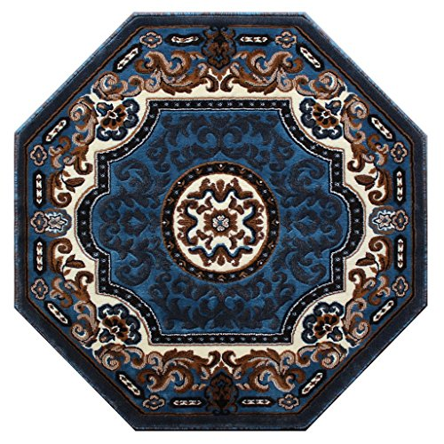 Traditional Area Rug Design Kingdom D 123 Blue Brown (4 Feet X 4 Feet) Octagon