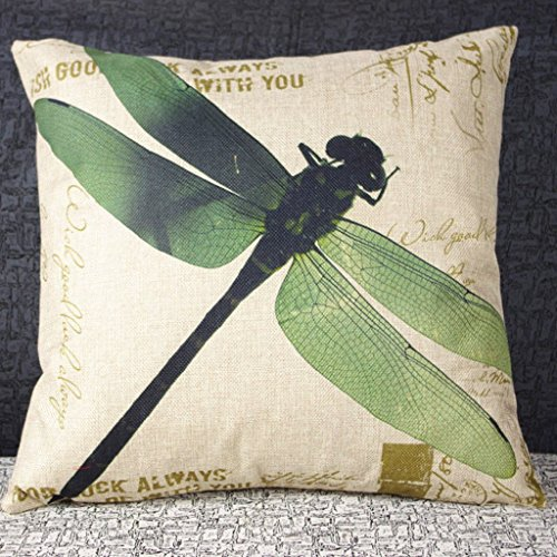 DECORLUTION-Cotton-Linen-Retro-Vintage-Home-Decorative-IndoorOutdoor-Throw-Cushion-Cover-Pillow-Sham-Dragonfly