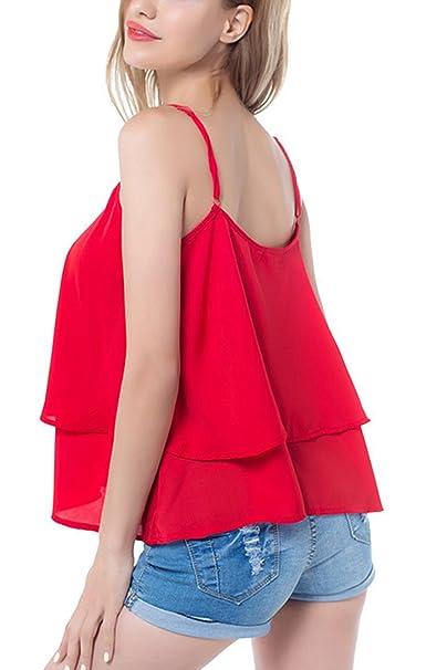 Vestido Moda Casual camisetas de las mujeres sueltas blusas Red L