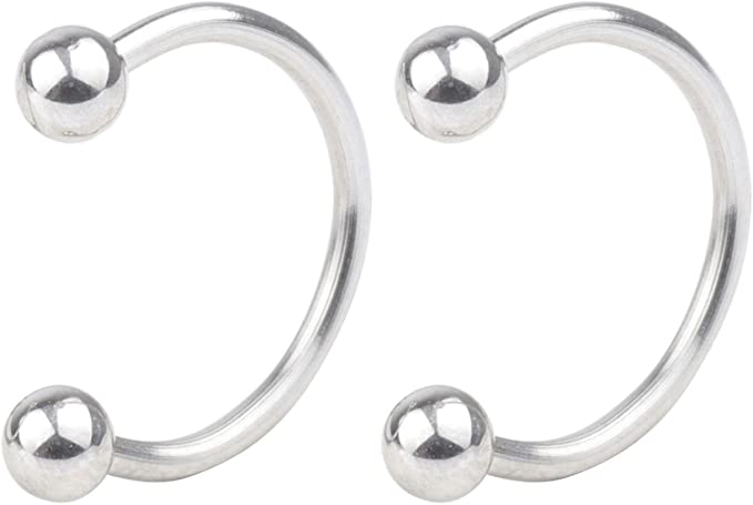 D.Bella Stainless Steel Horseshoe Rings 16G Nose Lip Eyebrow Rings Helix Cartilage Earring Hoop Fake Nose Piercing with Replacement Spike 6-12mm