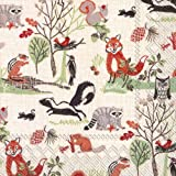 Ideal Home Range C527700 20 Count Decorative Paper Napkins, Cocktail, Woodland Animals