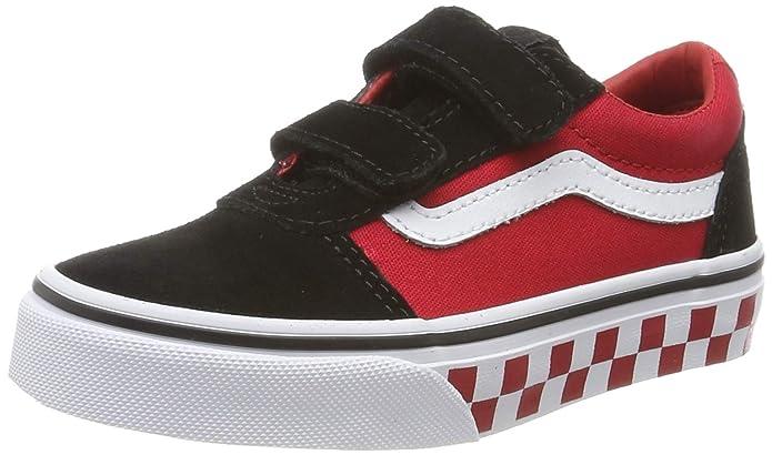 Vans Ward Sneakers Jungen / Kinder mit Klettverschluss Schwarz Rot Karierte Seitenwand