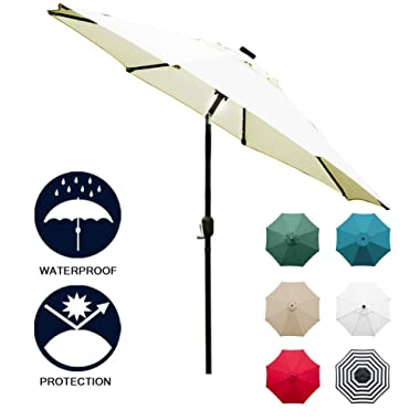 Sunnyglade 9' Solar 24 LED Lighted Patio Umbrella with 8 Ribs/Tilt Adjustment and Crank Lift System (Beige)