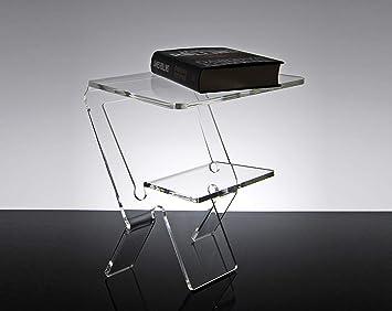 Slato Table de Nuit Table de Chevet Design Moderne en plexiglass  Transparent Oniro
