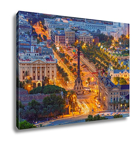 Ashley Canvas Mirador De Colom At Night Barcelona Spain Wall Art Decoration Picture Painting Photo Photograph Poster Artworks, 20x25 by Ashley Canvas