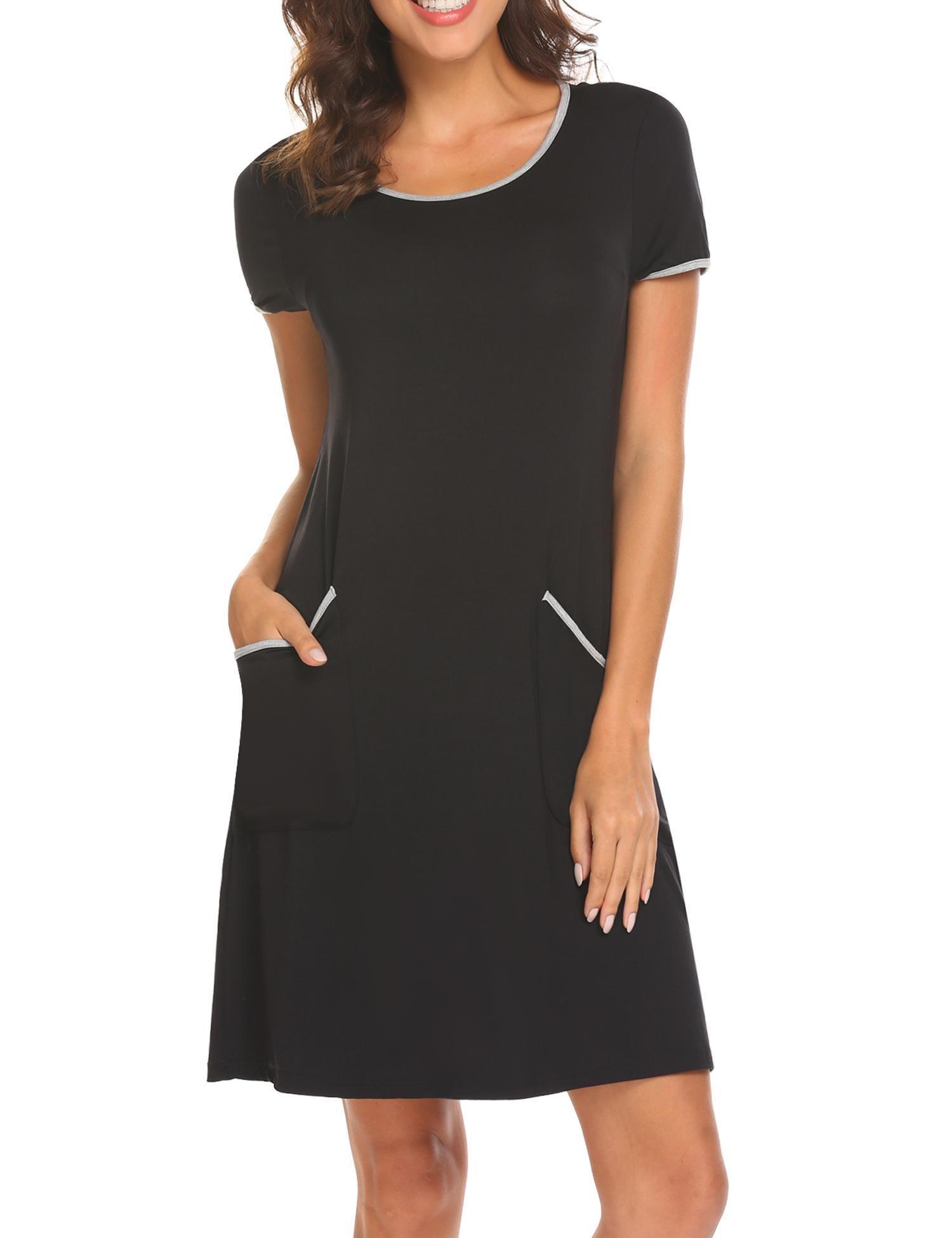 Ekouaer Women's Comfortable Pajama Lounge Loose Fit Sleepwear Short Sleeve Nightshirt (Black XL)
