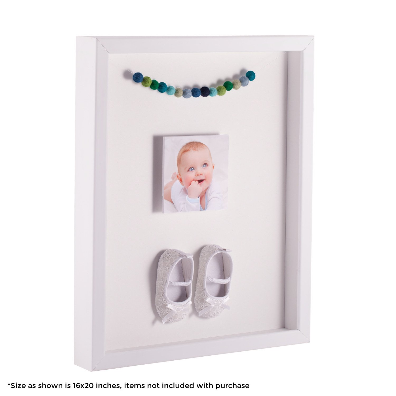 ArtToFrames 24 x 36 Inch Shadow Box Picture Frame, with a Satin White 1'' Shadowbox frame and Porcelain Mat
