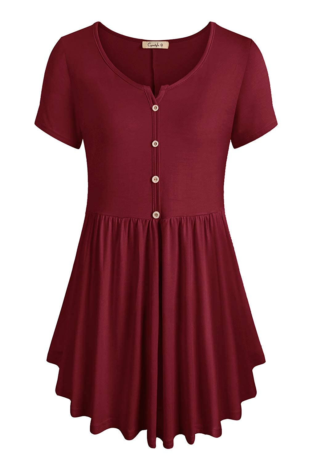 Burgundy Cyanstyle Women's V Neck Short Sleeve Henley Pleated Casual Tunic Blouse Tops