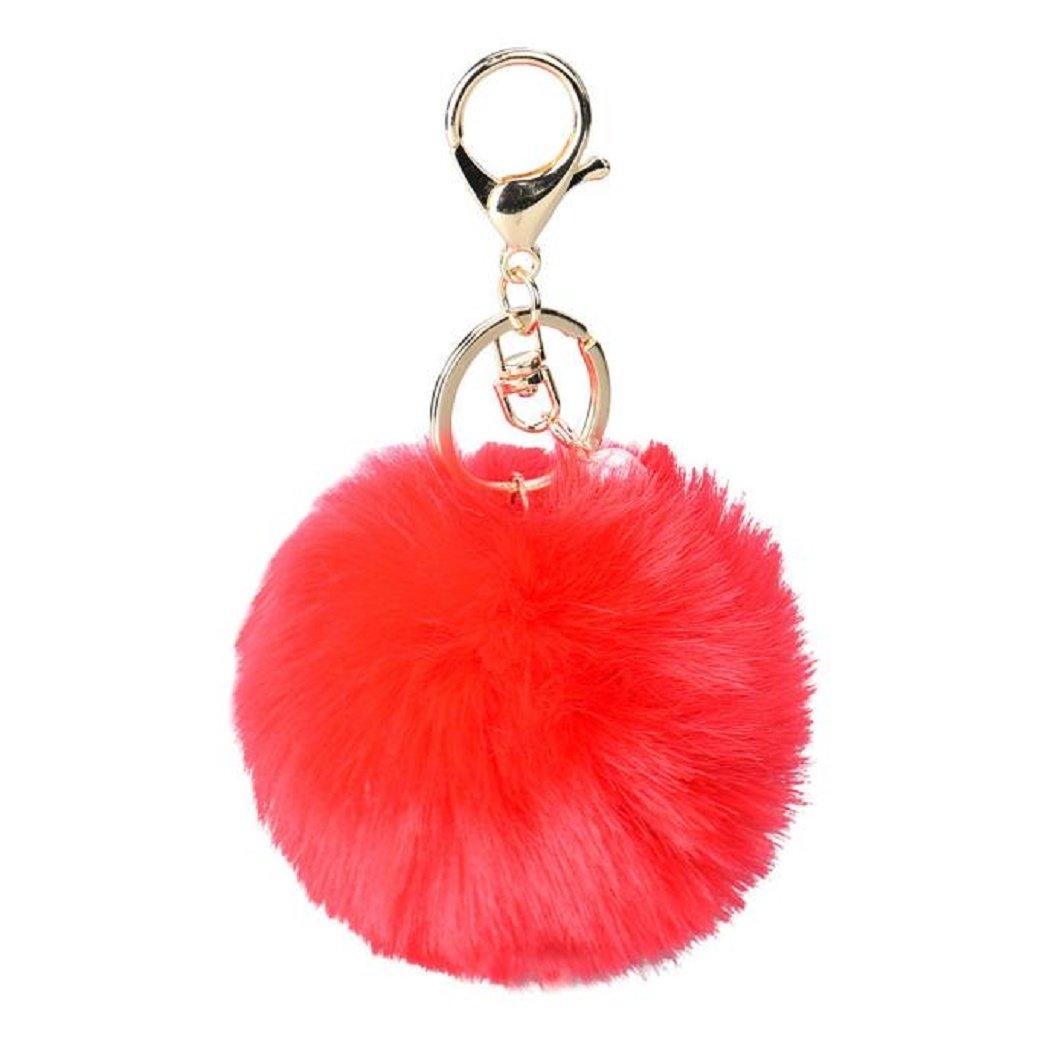 DZT1968® Solid Color Imitate Rabbit Fur Ball Keychain Handbag Key Ring Car Key