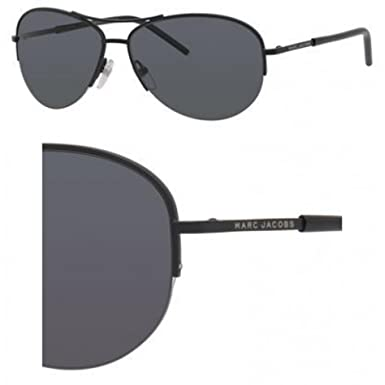 e9092a6ce045 Image Unavailable. Image not available for. Color: Marc Jacobs Metal Aviator  Sunglasses 59 010G Matte Black AH gray polarized lens