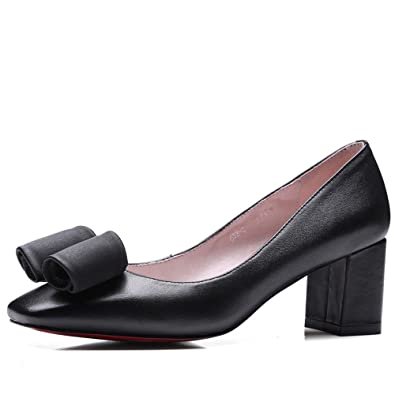 Genuine Leather Women's Square Toe Chunky Heel Casual Work Handmade Classic Heels Dress Pumps Shoes