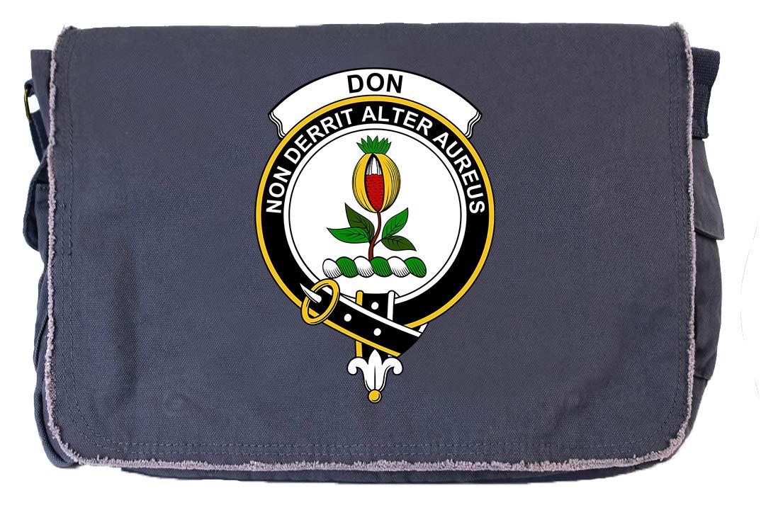 Tenacitee Scottish Clan Crest Badge Don Khaki Green Raw Edge Canvas Messenger Bag