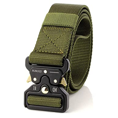 dc3758acb67e6 MUMUGO Men Durable Cobra Tactical belt Military Style with Us Belt Heavy  duty Nylon Belt For Hunting Training Army Running (Army Green)   Amazon.co.uk  ...