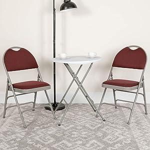 Flash Furniture 4 Pack HERCULES Series Ultra-Premium Triple Braced Burgundy Fabric Metal Folding Chair with Easy-Carry Handle