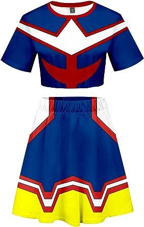 Skirt Mujeres Disfraz de My Hero Academia Bakugou Katsuki Ochaco Uraraka Million Asui Tsuyu All Might Izuku Midoriya Todoroki Shoto Vestido//T-Shirt