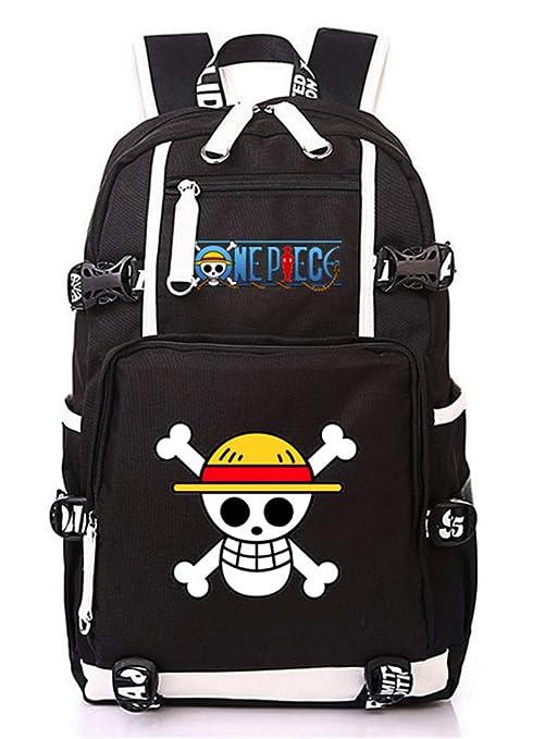 Cosstars One Piece Anime Backpack Mochila Escolar Estudiante Bolso de  Escuela Mochila para Portátil Negro- 03ce5e40779