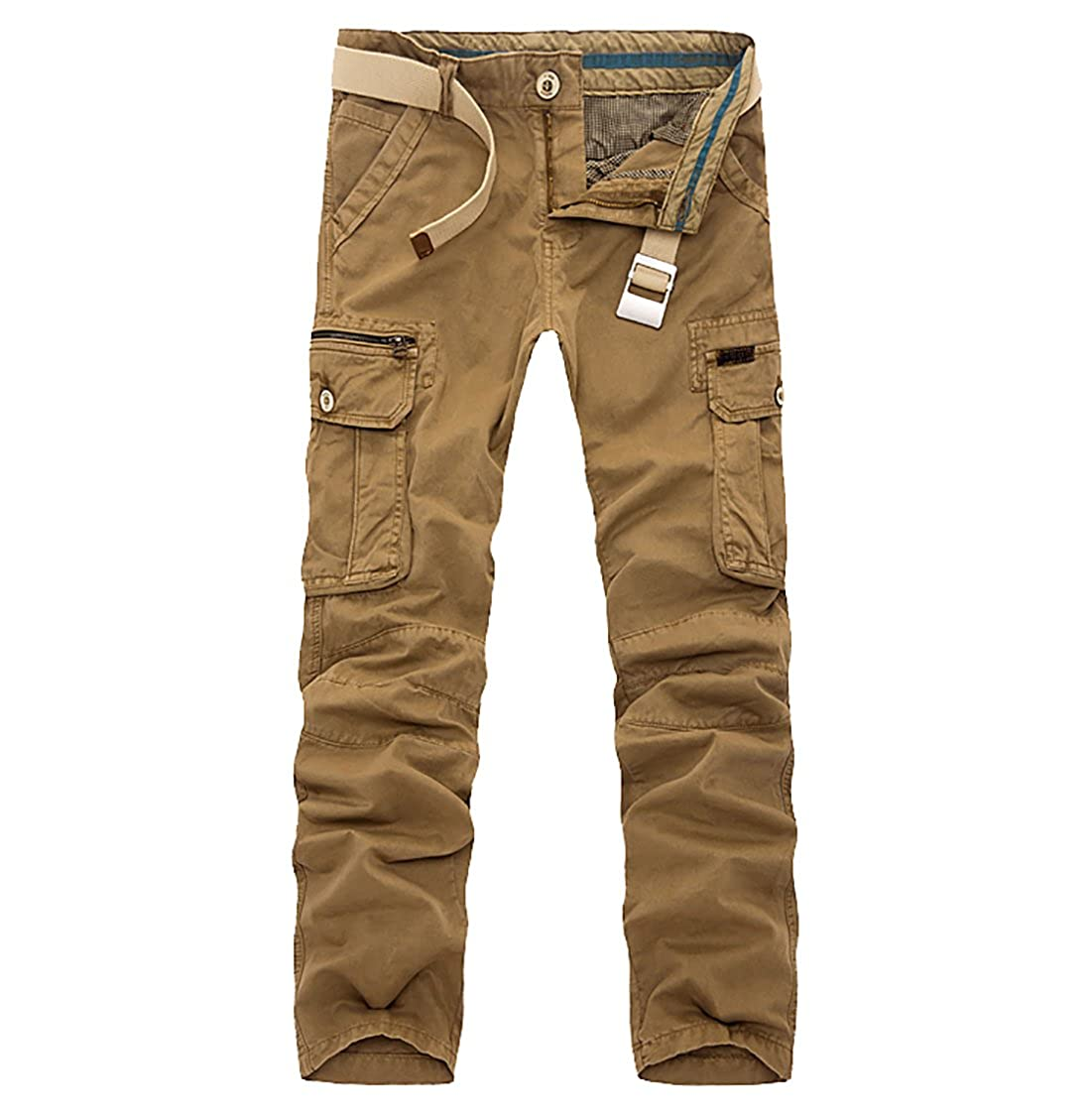 Tingwin Mens Cotton Fleece Casual Military Cargo Thicken Pants With Pockets