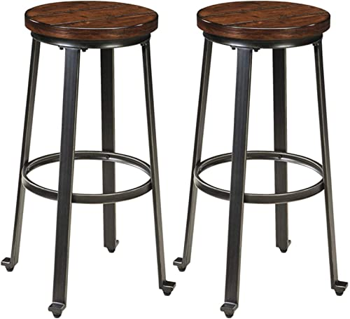 Signature Design by Ashley Challiman Bar Height Bar Stool, Rustic Brown