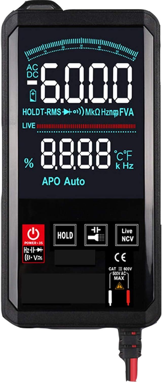 Multímetro Digital, multímetro de 6000 Cuentas, medidor probador de Voltaje de amperios voltios ohmios con Voltaje CA/CC, Corriente, capacitancia, Encendido y Apagado del zumbador, frecuencia, NCV