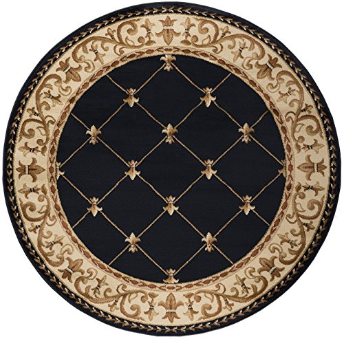 Orleans Traditional Border Black Round Area Rug, 5' Round