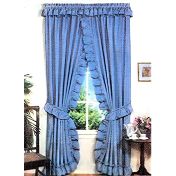 stacey one rod criss cross ruffled priscilla window curtain with tie backs 54 inch - Blue And White Window Curtains