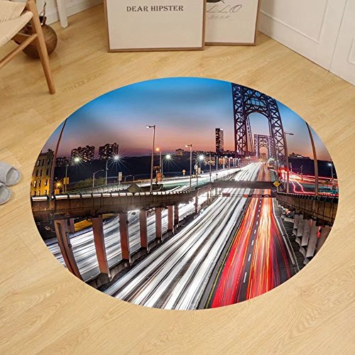 Gzhihine Custom round floor mat Rush Hour Traffic with Light Trails on George Washington Bridge in New York - Hours Washington Outlets