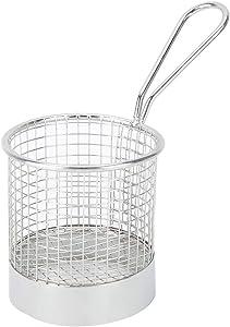 Stainless Steel Round French Fry Basket Holder Snack Holder Bread Storage Basket for Deep-fried Chips Snacks Desserts