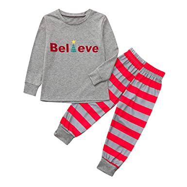 961559b329 Kids Adult Striped Tops Pants Christmas Family Matching Pajamas Sleepwear  Xmas Pjs Sets Nightie Outfits (