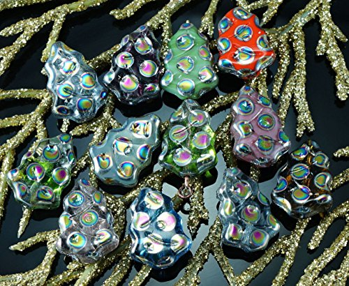 Mix Multicolor Dotted Peacock Czech Glass Flat Christmas Tree Beads Carved 17mm x 12mm 10pcs