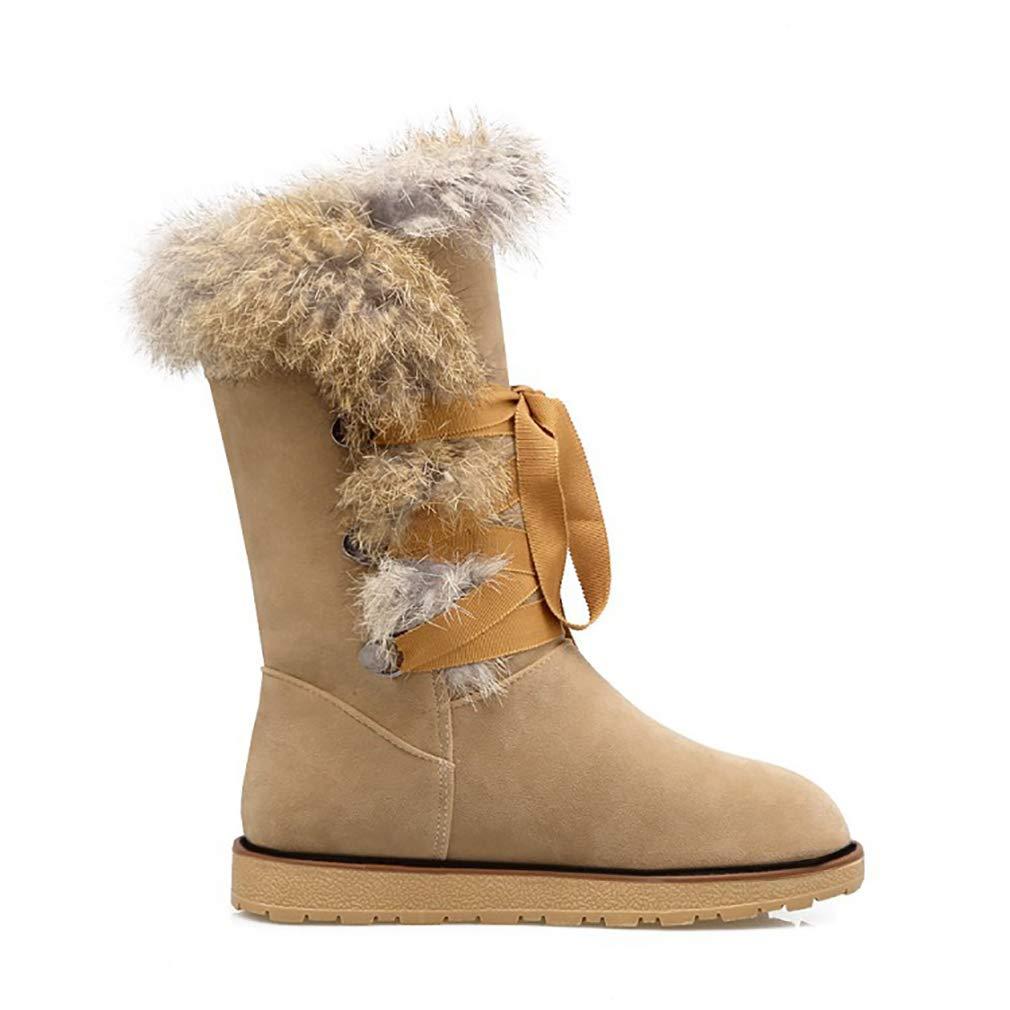 Hy Frauen Stiefel Winter Künstliche PU Schneeschuhe Stiefel Damen Warm Warm Damen Plus Dicke Lässig Stiefelies Student Große Größe Flache Stiefel Lace-up Stiefeletten (Farbe   EIN Größe   40) 6d8d4e