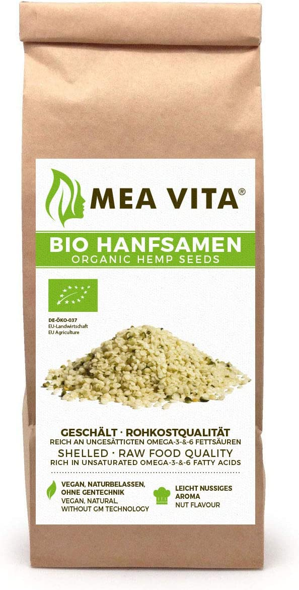 Meavita Semillas De Cáñamo Orgánico Meavita, Peladas, 1 Paquete (1 X 500 G) 500 g