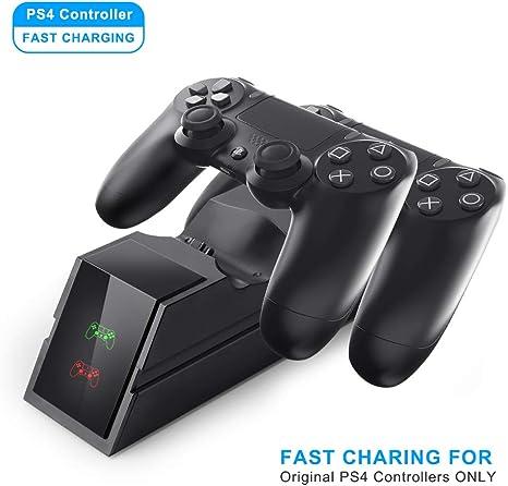 Laelr PS4 Controller Cargador Dual USB de carga rápida Estación de carga de muelle para controladores Playstation 4 / PS4 Pro / PS4 Slim: Amazon.es: Videojuegos