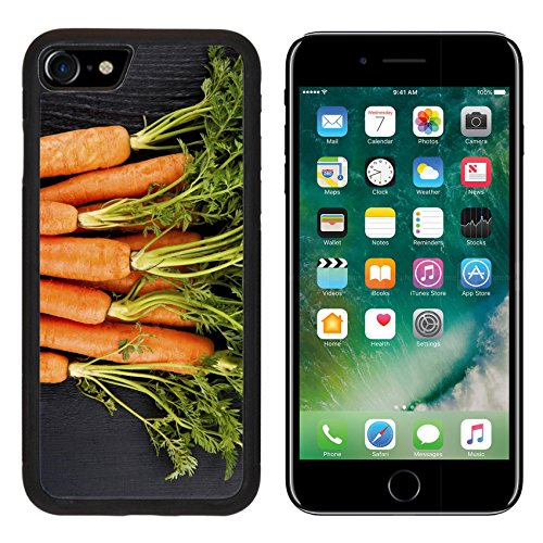 MSD Premium Apple iPhone 7 Aluminum Backplate Bumper Snap Case iPhone7 IMAGE ID 26707081 Bunch of fresh carrots with green leaves over wooden ()