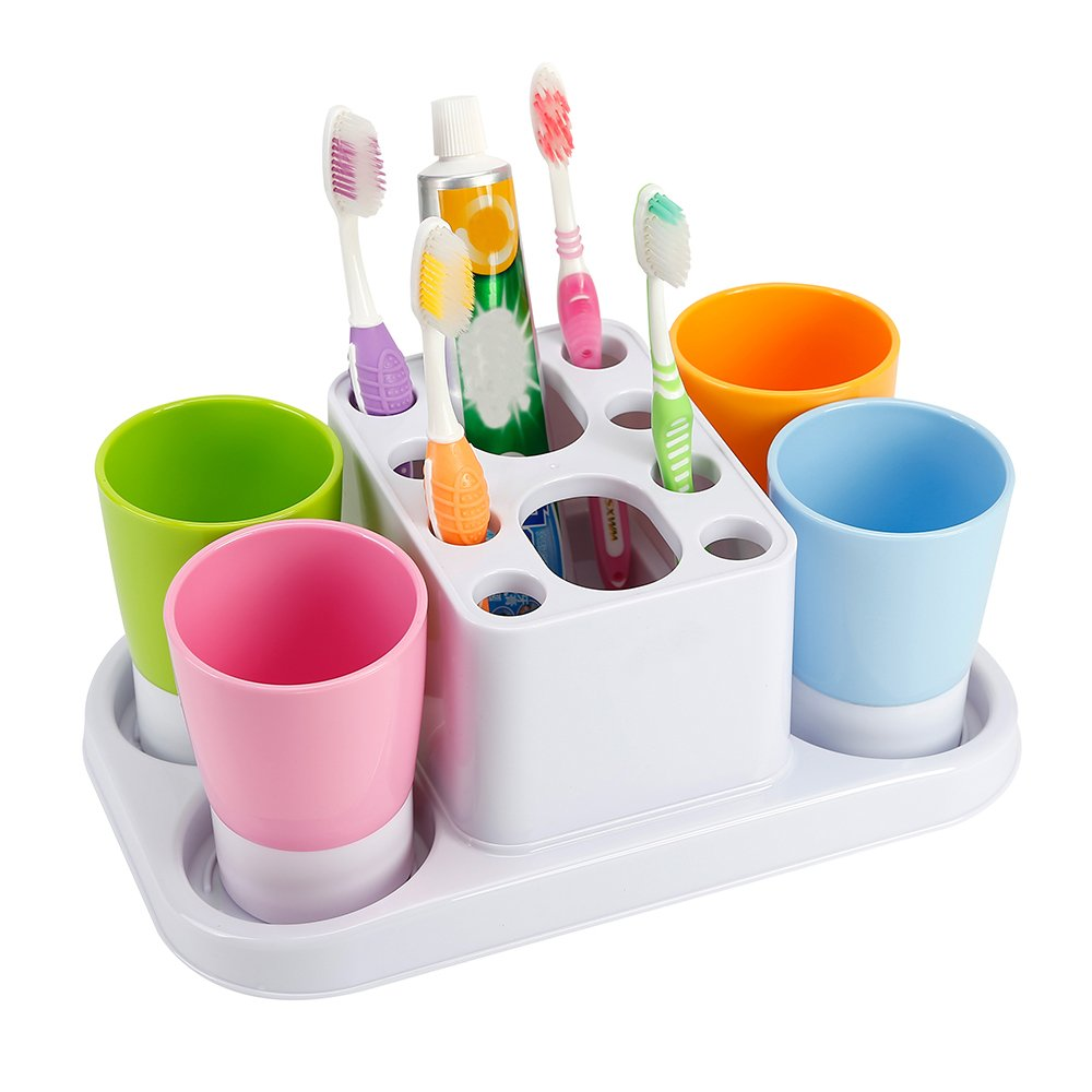 Eslite Toothbrush Holder and Large Organizer Stand for Bathroom