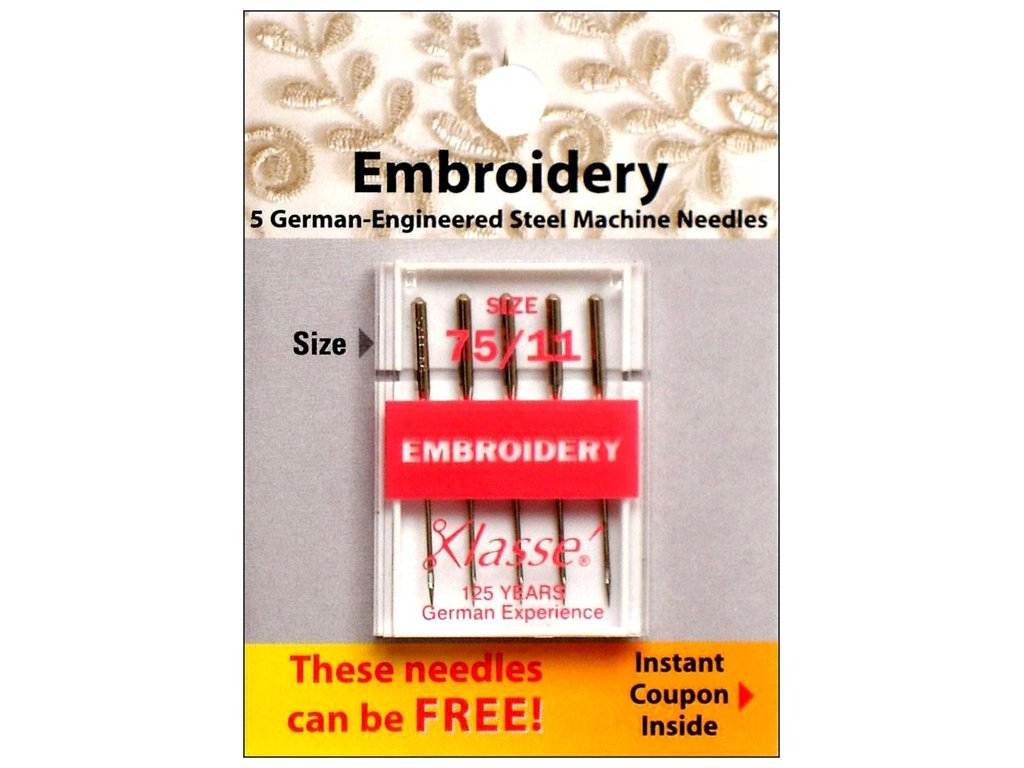 Klasse' Embroidery Needles Size 75/11 Klasse Needles