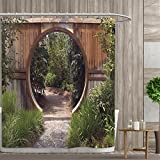 Custom Made Shower Curtains Japanese Decor Collection Shower curtains 3D Digital Printing Authentic Circle Rustic Doorway Gate Opening to National Park Sublime Habitat Image Custom Made Shower Curtain 72