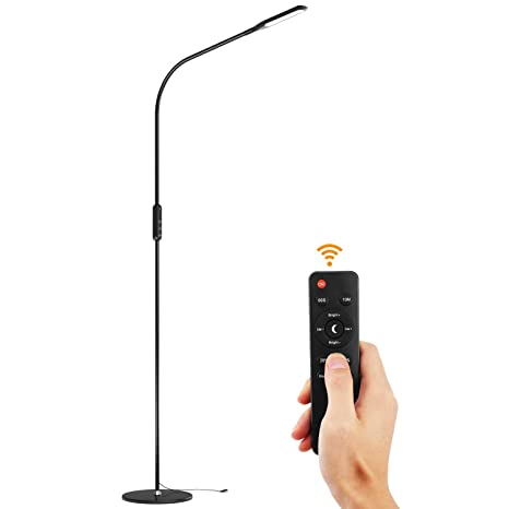Lewondr LED Floor Lamp, Standing Lamp Reading Floor Light with Remote Control, Flexible Gooseneck, Stepless Brightness/Color Temperature, Memory ...