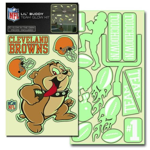 Nfl Locker Browns Room (Team ProMark NFL Cleveland Browns Lil Buddy Glow In The Dark Decal Kit (Pack of 20))