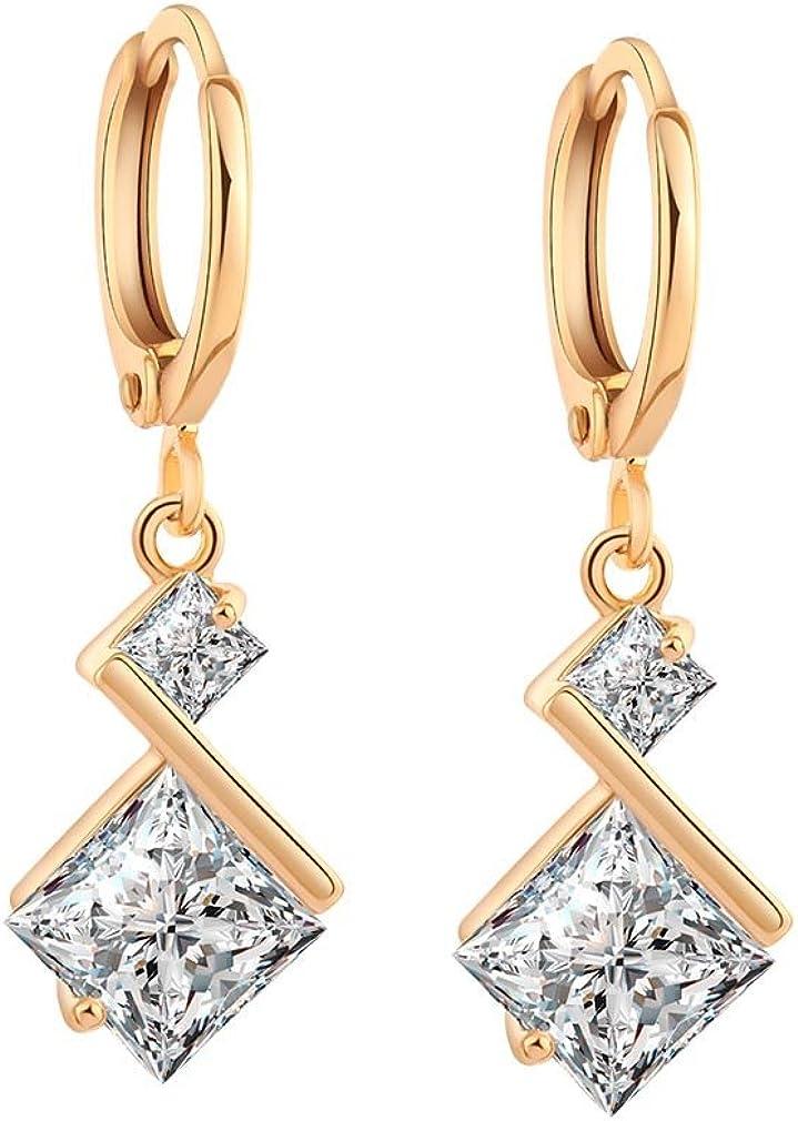 Yazilind oro 18K plateó los pendientes de circonio cúbico del embutido con encanto cuelga del aro para regalo de las mujeres