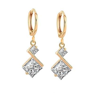 87aeae4a217d Yazilind oro 18K plateó los pendientes de circonio cúbico del embutido con  encanto cuelga del aro para regalo de las mujeres Blanco  YAZILIND JEWELRY  LTD  ...