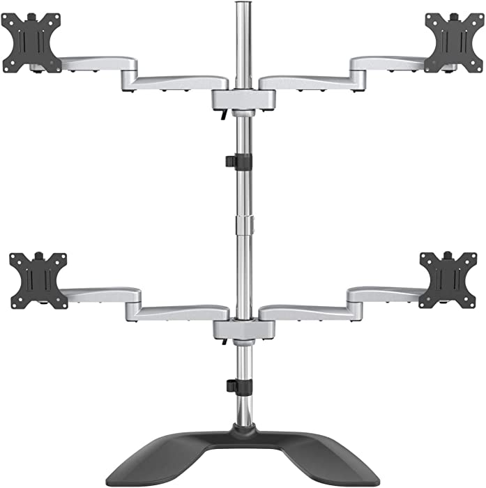 "StarTech.com Desktop Quad Monitor Stand - Ergonomic VESA 4 Monitor Arm (2x2) up to 32"" - Free Standing Articulating Universal Pole Mount - Height Adjustable/Tilt/Swivel/Rotate - Silver (ARMQUADSS)"